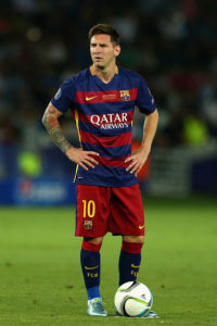TBILISI, GEORGIA - AUGUST 11: Lionel Messi of Barcelona looks on during the UEFA Super Cup between Barcelona and Sevilla FC at Dinamo Arena on August 11, 2015 in Tbilisi, Georgia. (Photo by Chris Brunskill/Getty Images)